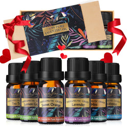 Luckyfine Pure Essential Oil Gift Set, Therapeutic Premium Aroma Essential Oils for Spa Help Sleep Calm Mood, 6 Scents