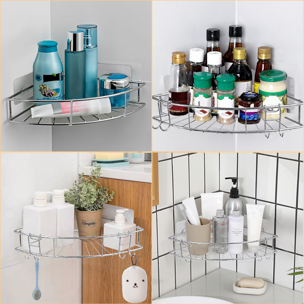 Stainless Steel Corner Bathroom Shower Storage Shelf