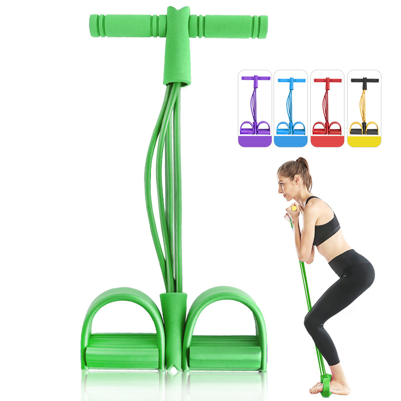 4 Tubes Elastic Pull Rope Resistance Band Foot Pedal Workout Exercise Yoga sports Equipment