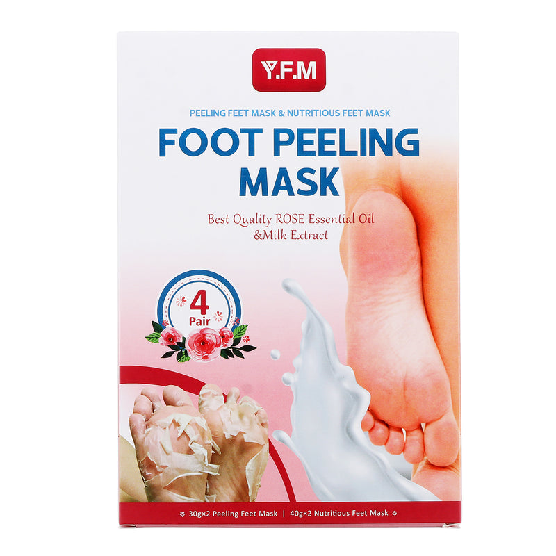 4 paires Rose Foot Peeling & Nourishing Mask, 7 Days Repair Rough Heel for Soft Nourish Feet, Removes Calluses & Dry Skin