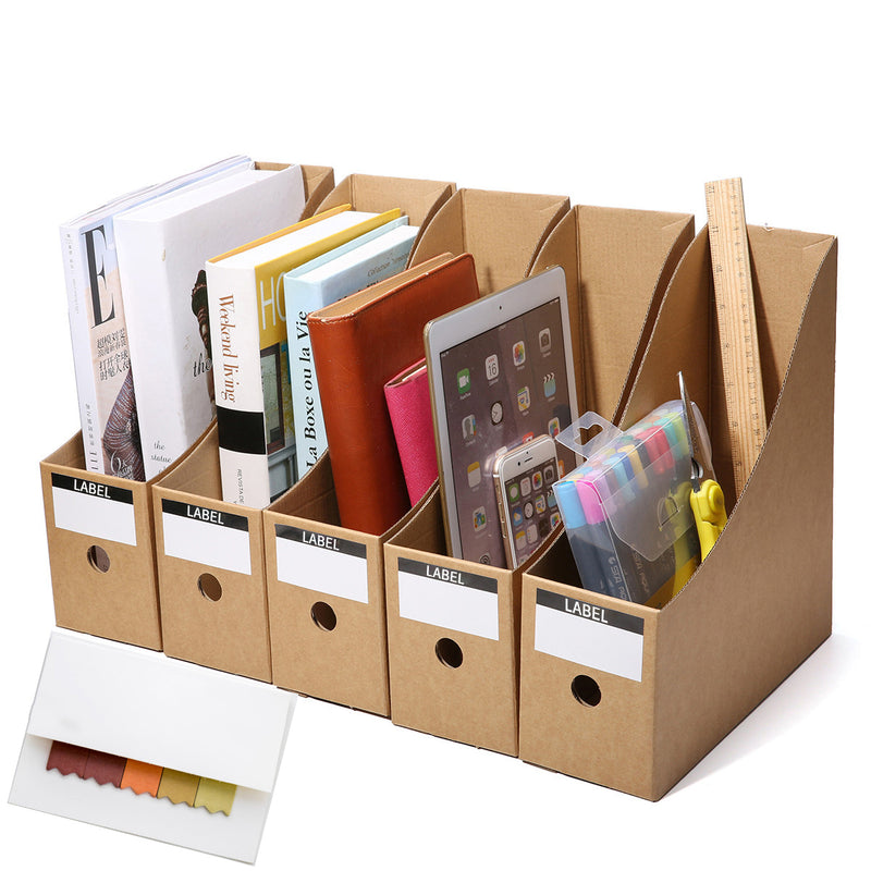 5PCS File Paperwork Magazine Holder Cardboard A4 Files Folder Simple Style Files Rack Box