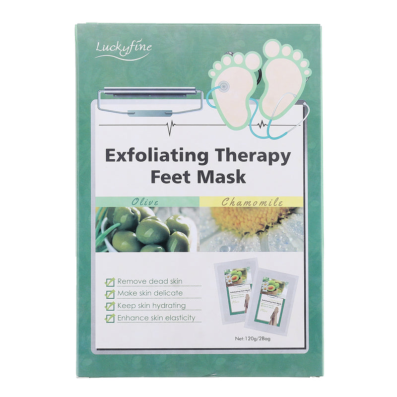 Luckyfine 2 Pairs Foot Peeling Mask for Exfoliating Callus Dead Skin Removal, Dry, Aging, Cracked Heels