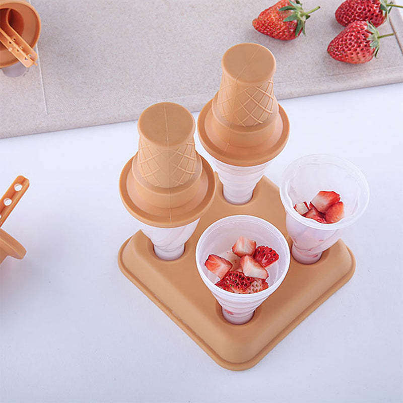 Ice Cream Popsicle Molds, 4PCS Ice Cream Molds for DIY Homemade Ice Cream Pops w/ Cartoon Cone-Shaped Holder