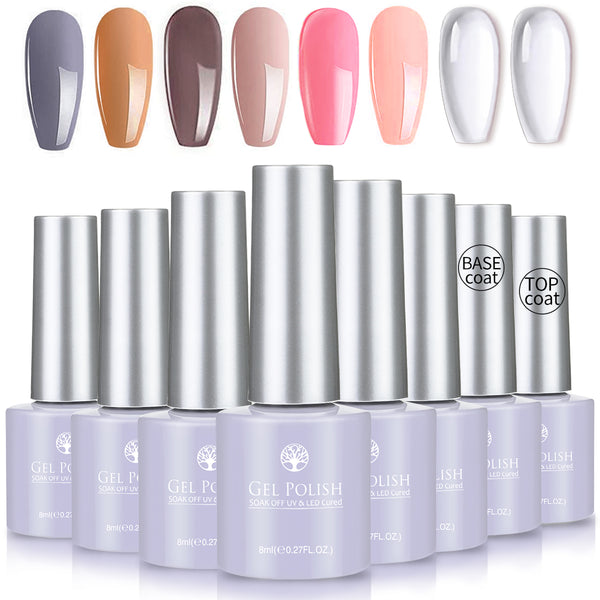 8PCS Gel Nail Polish Set, Soak Off Gel Polish, 6 Colours UV Gel Nail Polish & Base/Top Coat