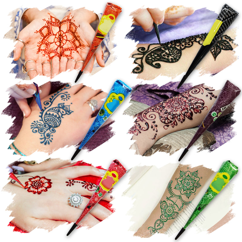 6PCS 6 Colors Conical Temporary Art Henna Tattoos Painting, Blue/Green/Orange/Red/Purple/Black