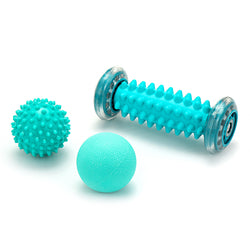 3-In-1 Set Manual Massage Balls Foot Roller for Plantar Arch Pain Spiky Ball Lacrosse Athletics Orb