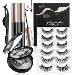 Luckyfine 6 Pairs Reusable Non-Magnetic False Eyelashes & Eyeliner w/ Mirror Kit, Multi Styles No Glue Needed