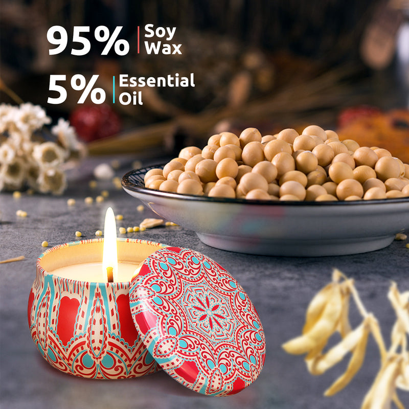 Ethnic Style Scented Candles Gift Set, Natural Soy Wax w/ Fragrance Essential Oils Travel Tin Case