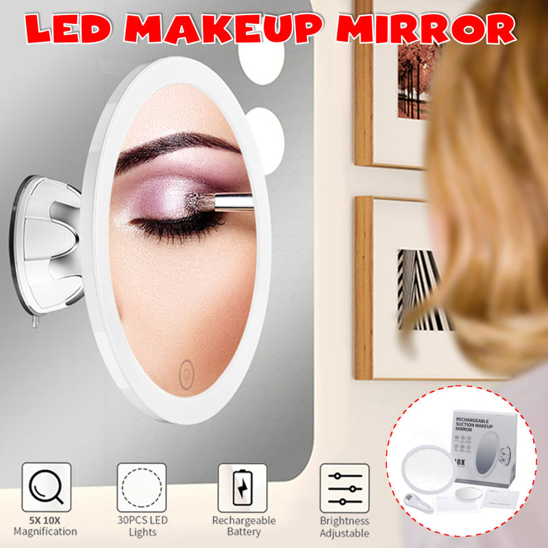 10x+5x LED Lighted Vanity Mirror, Makeup Mirror w/ Suction Cups, 360 Swivel Ring Light 3 Colors & Dimmable