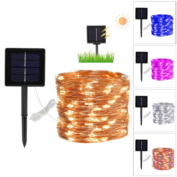 8 Modes 10/20m 100/200 LED Solar Power Fairy Lights String for Party Wedding Decor Garden