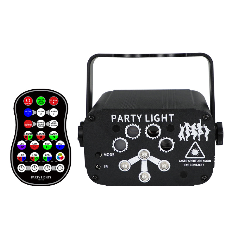 8-holes Mini Laser Light Sound Control USB Charge UV Light Halloween Party Projection Lamp