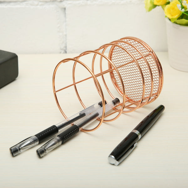 Rose Gold Round Iron Pencil Holder Stationery Desk Organizer Makeup Brush Holder for Office/Home/School