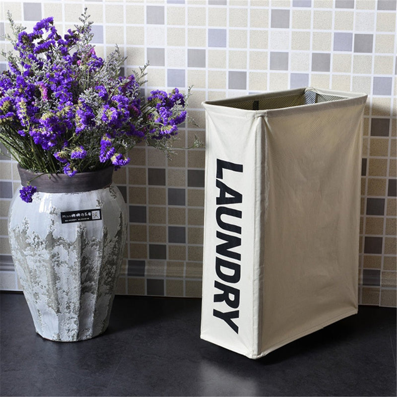Foldable Laundry Basket with Wheels Clothes Storage Bag