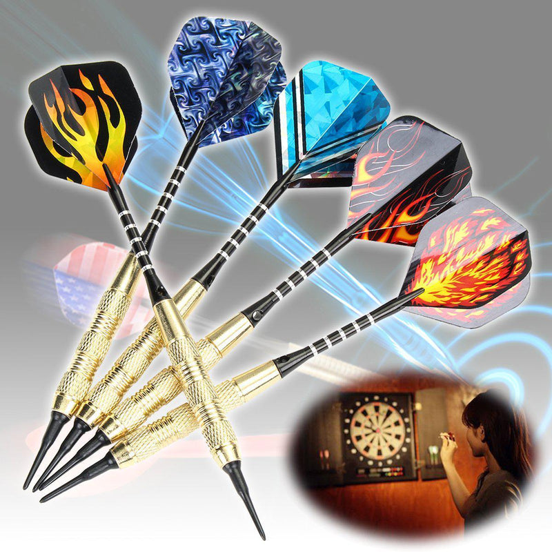 12PCS Soft Darts Set with Brass Plated Barrels, Extra 10 Style 30 Darts Flight, 100 Soft Darts Tips-Luckyfine