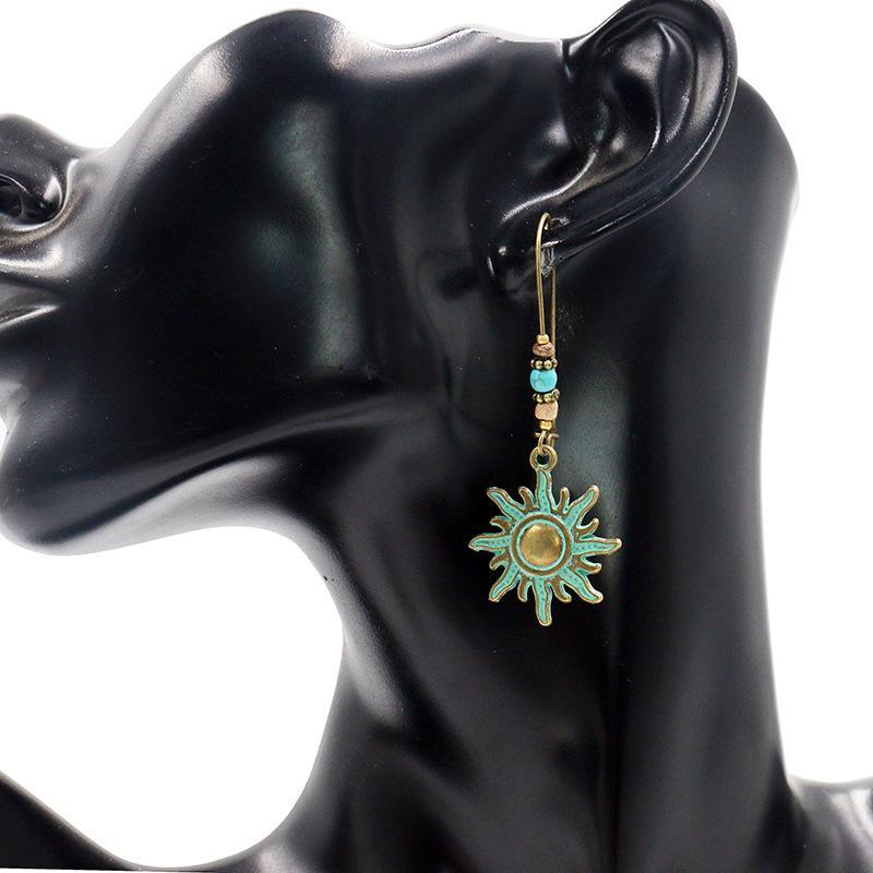 Boho-Chic Turquoise Bronze Sun Drop Earrings-Luckyfine