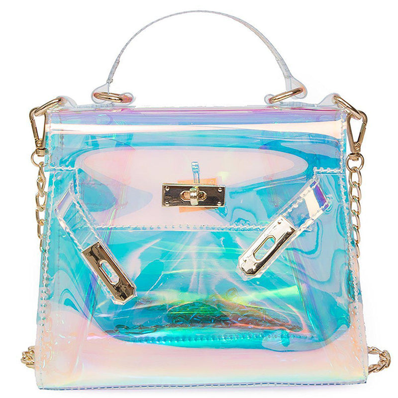 Transparent Holographic Beach Bag-Luckyfine