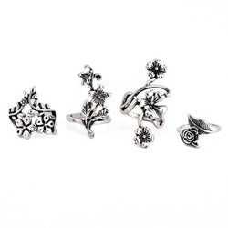 4PCS Vintage Bohemian Style Flower Finger Rings Joint Rings Set-Luckyfine
