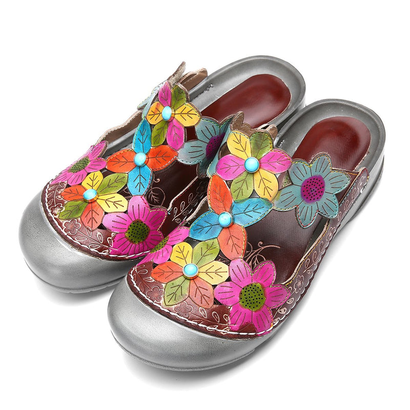 gracosy Women Summer Leather Clogs  Flower T-Strap Sandals Slippers Loafer