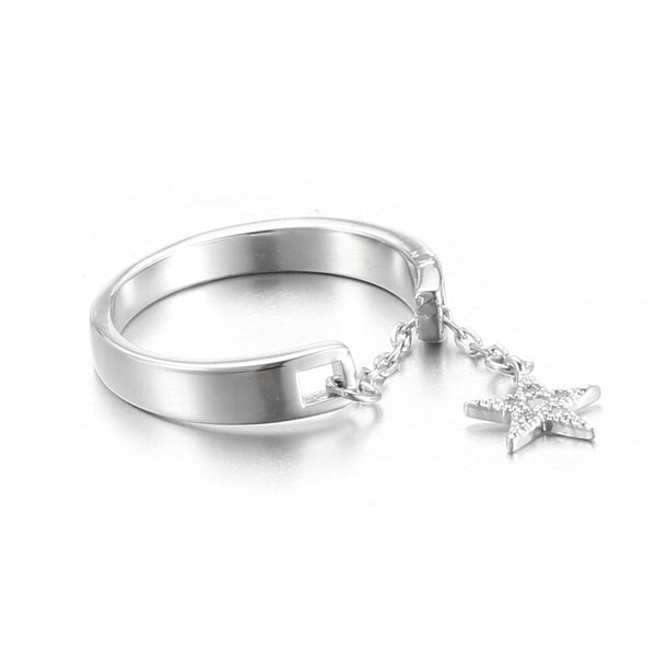 Sterling Silver Plated Adjustable Chain Star Finger Rings-Luckyfine