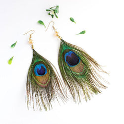 Handmade Vintage Boho-Chic Peacock Feather Earrings-Luckyfine
