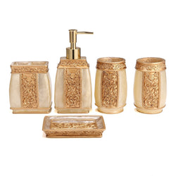 5PCS Court Style Bathroom Accessory Set Goth Marble Style Resin Bathroom Accessories Lotion Dispenser, Soap Dish, Toothbrush Holder & Tumbler