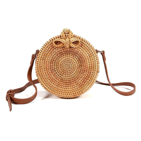 Round Rattan Straw Bag-Luckyfine