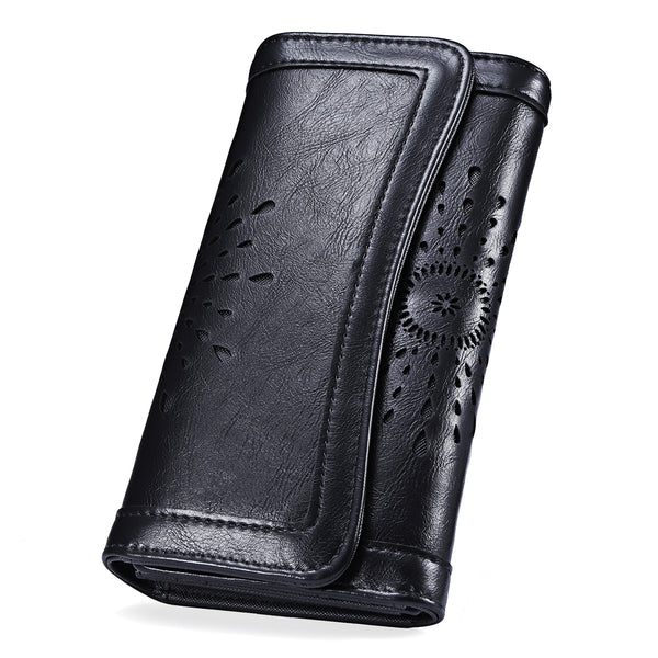 Women Vintage Hollow Out Buckle Leather Long Wallet Ladies Clutch, Purse, Card Holder