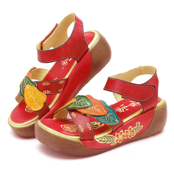 Gracosy Summer Women Leaf Splicing Handmade Leather Platform Sandals, Summer Vintage Flower Hollow Hook Loop Slingback Leather Platform Sandals