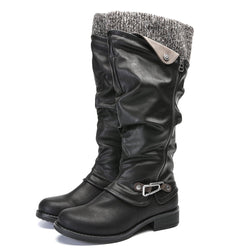 Gracosy Women Winter Leather Warm Fur Lined Knee High Boots Ladies Flat Heel Zipper Buckle Riding Boots