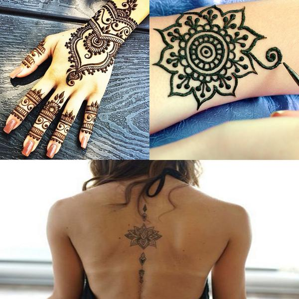 3 Colors Conical Temporary Art Henna Tattoos Painting & 20 PCS Adhesive Stencils Set