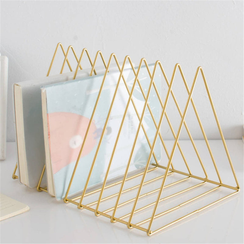 9 Compartments Triangle Gold Letter Storage Rack Nordic Style Tray Holder Desk Organizer