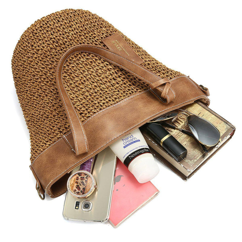 Outdoor Casual Cross body Straw Handbag-12