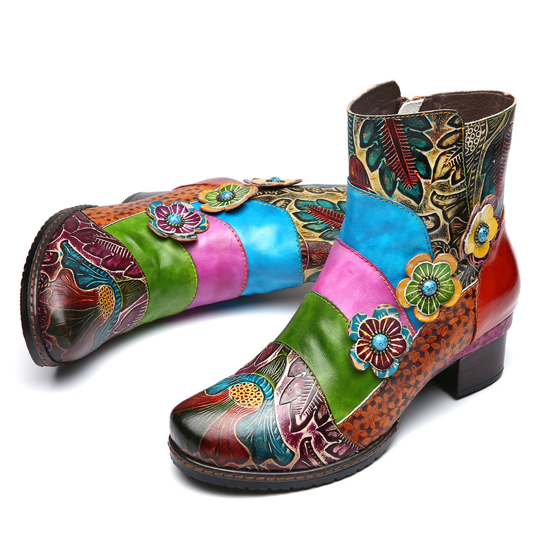 Gracosy Women Handmade Flower Splicing Leather Ankle Boots for Fall Winter Bohemian Vintage Ankle Boots Side Zipper