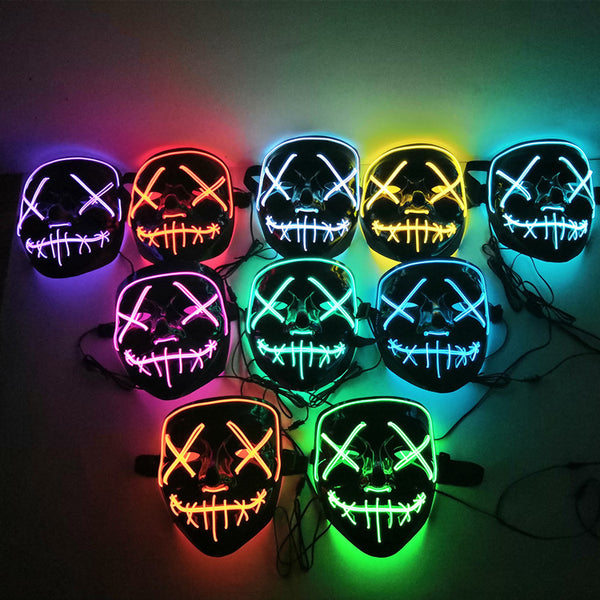 Halloween LED Mask Voice Control Light Up Mask Glow in the Dark EL Wire Light Up for Festival Cosplay Costume Party