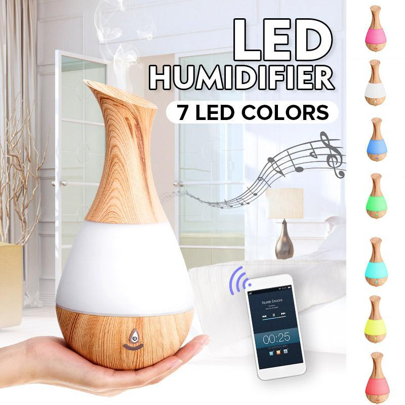 Aromatherapy Essential Oil Diffuser Humidifier with Bluetooth Speaker, 7 LED Color, 235ml