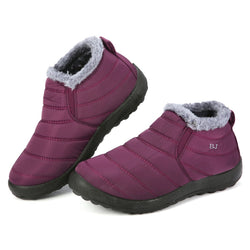 Gracosy Women Winter Snow Slip On Ankle Boots, Waterproof Anti-Slip Fur Lined Warm Flat Boots