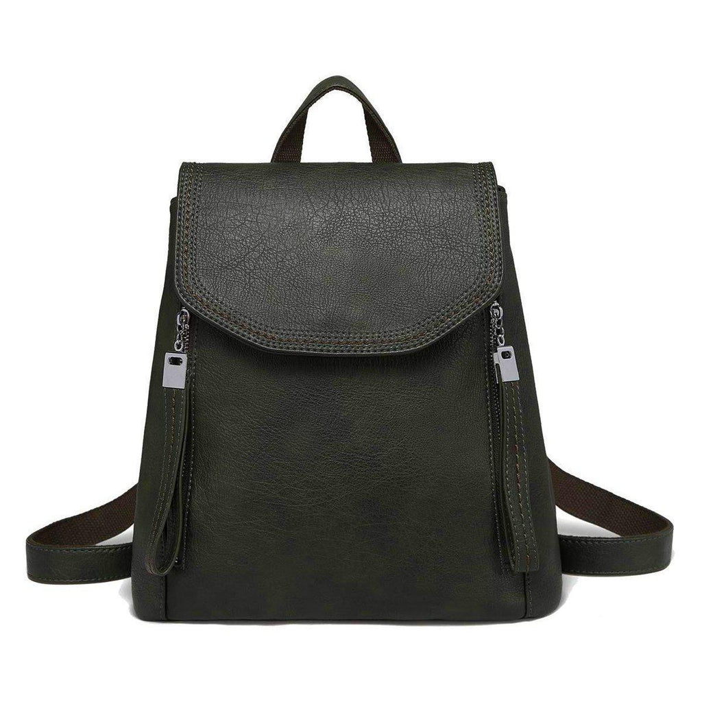 Leather Flap Backpack-Luckyfine