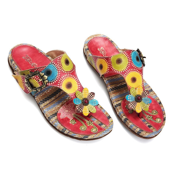 Gracosy Women Summer Handmade Straw Insole Leather Clip Toe Flip Flops, Bohemian Handmade Flower Splicing Backless Slippers Sandals