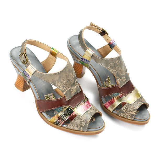 Gracosy Women Vintage Elegant Ethnic Style Open Toe Mid Block Heel Leather Shoes, Summer Handmade Open Toe Mid Block Slingback Sandals