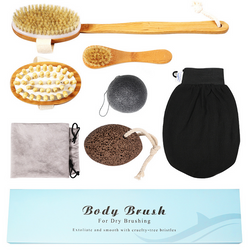 Detachable Body Brush, Massager & Facial Brush 7PCS Dry Brushing Set 100% Natural Boar Bristles