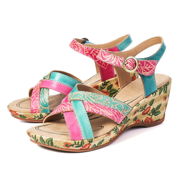 gracosy Women Summer Open Toe Wedge Heel Leather Sandals, Bohemian Slingback Leather Sandals