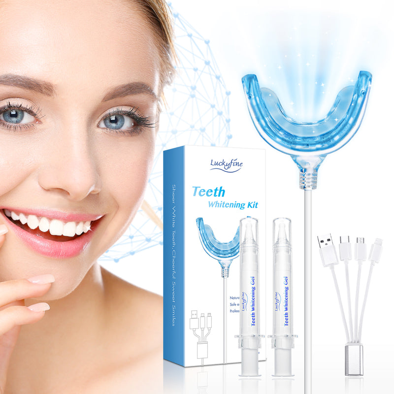 At Home Professional Teeth Whitening Kit with LED Light,  with 4 Adapters, USB Charge