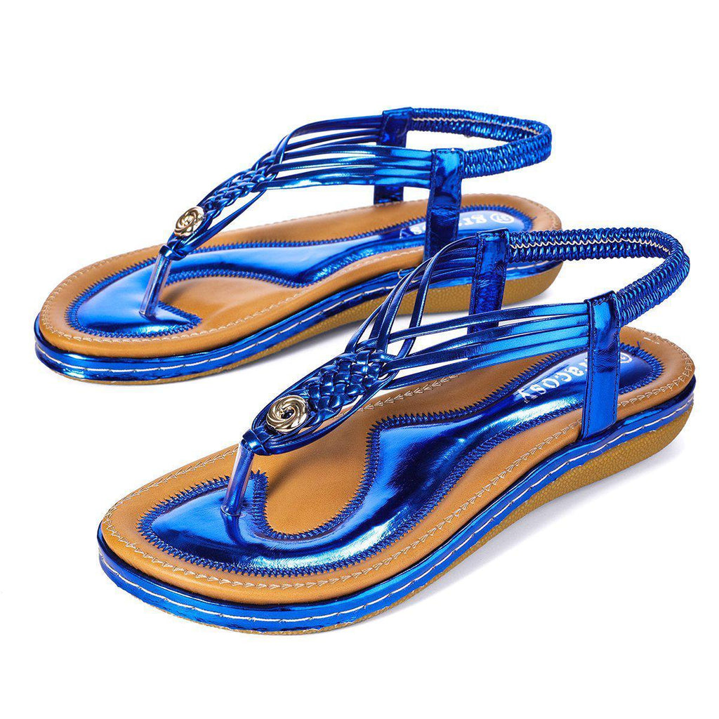 Flat Sandals Flip Flops Thongs Clip Toe Slip On Elastic T-Strap-Blue#2