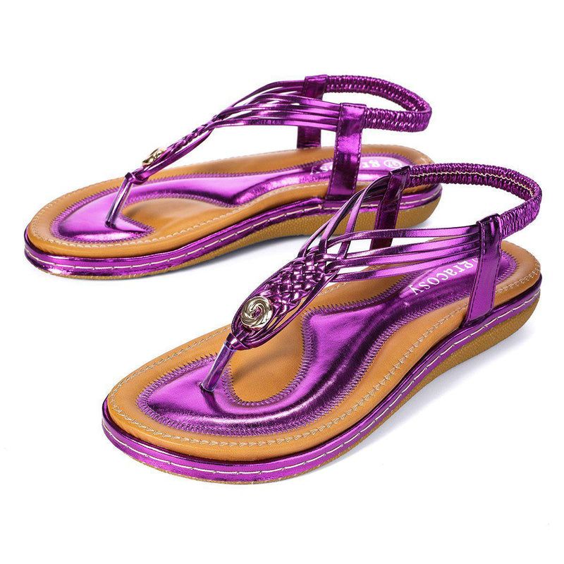 Flat Sandals Flip Flops Thongs Clip Toe Slip On Elastic T-Strap-Purple#2