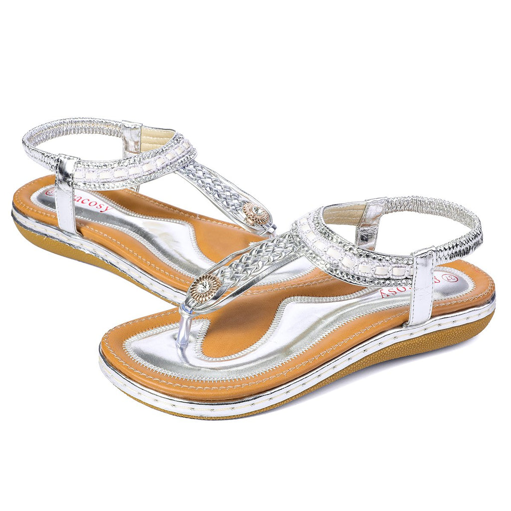 Gracosy Women Summer Flat Flip Flop,  Bohemian Weaving Rhinestone Beads Sandals-Metallic Colour