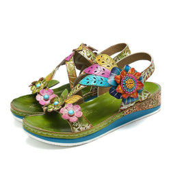 Flat Flower Splicing Sandals-Luckyfine