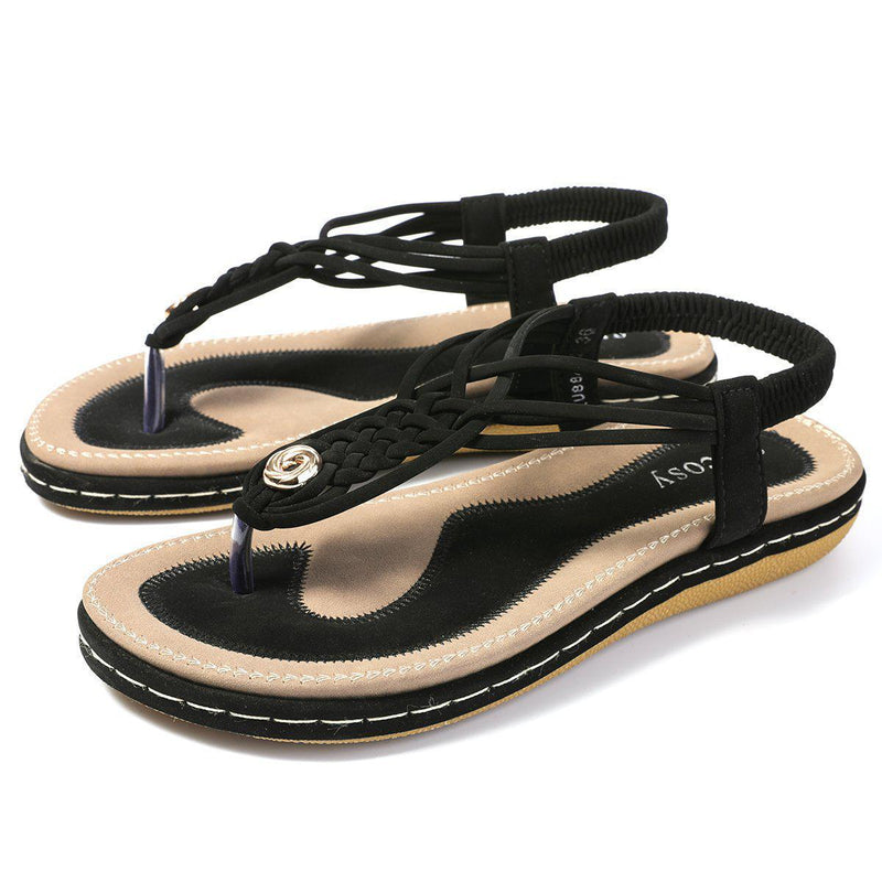 Flat Sandals Flip Flops Thongs Clip Toe Slip On Elastic T-Strap-black