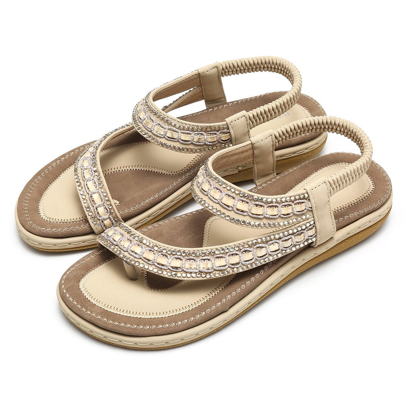 Gracosy Women Summer Flat Sandals, Bohemian T-Strap Rhinestone Outdoor Clip Toe Flip Flop-Matte Colour