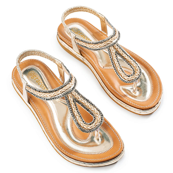 Gracosy Summer Women Flat Sandals Flip Flops, T-Strap Rhinestone Beads Sandals-Metallic Colour
