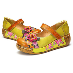 gracosy Women Handmade Leather Vintage Flower Splicing Platform Mule Clogs Sandals